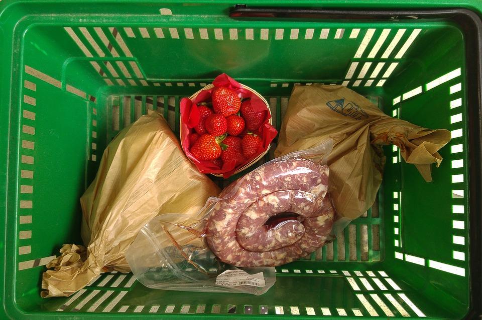 nákupný košík, potraviny